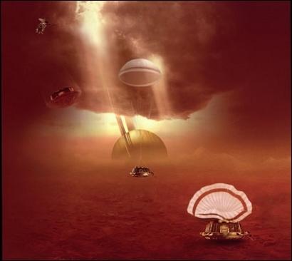 Descente d'Huygens dans l'atmosphère de Titan. Crédits : ESA