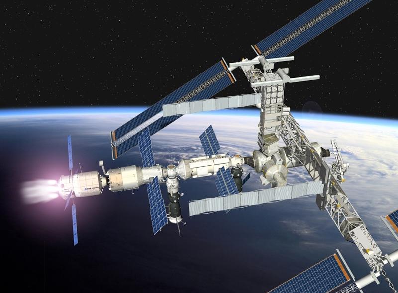 L'ATV en approche de la station. Le 1er vol est prévu fin 2007. Crédits : CNES/D. Ducros