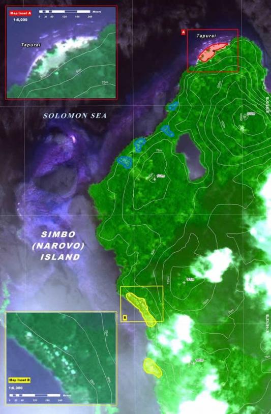 Estimation préliminaire des dégâts grâce aux images Spot-5 lors d'un tremblement de Terre dans les Iles Salomon au début du mois d'avril.