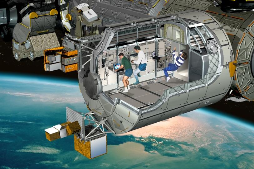 Inside the Columbus laboratory. Crédits : ESA/D. Ducros.