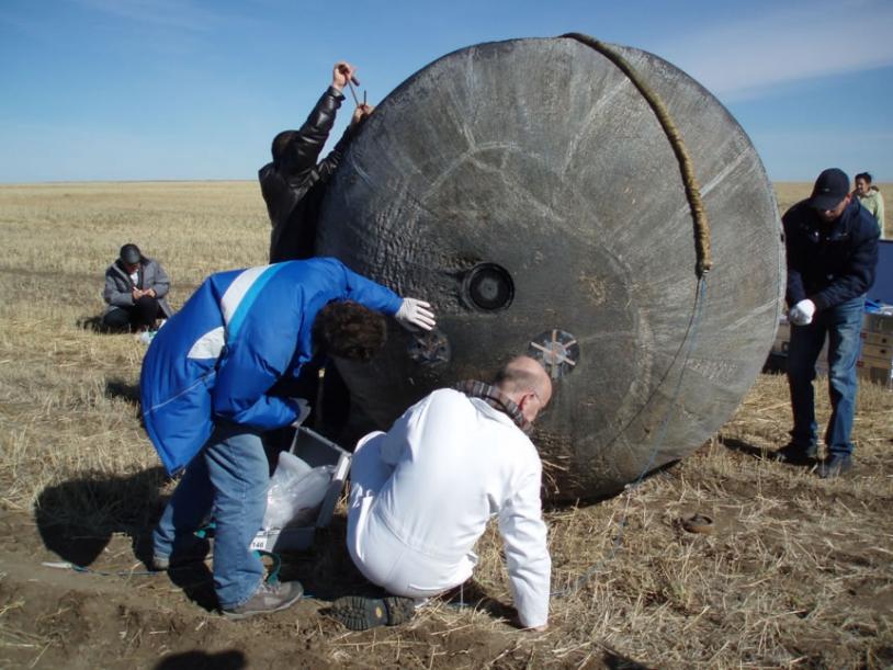 The Foton capsule back on Earth in Kazakhstan