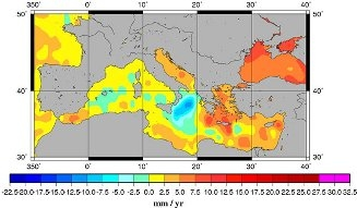 Le niveau moyen de la Méditerranée s'est élevé, conséquence du réchauffement climatique. Crédits : AVISO.
