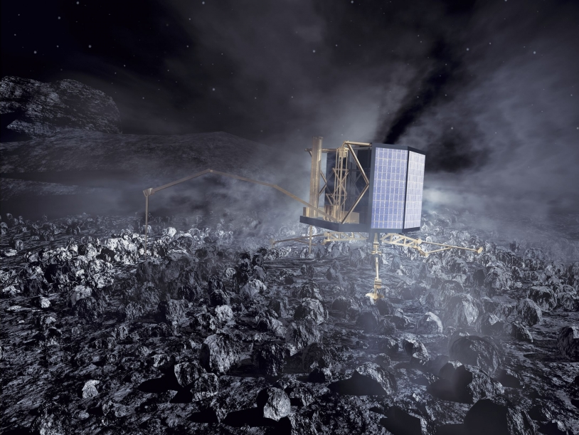 Philae landing on the comet. Crédits : ESA/AOES Medialab