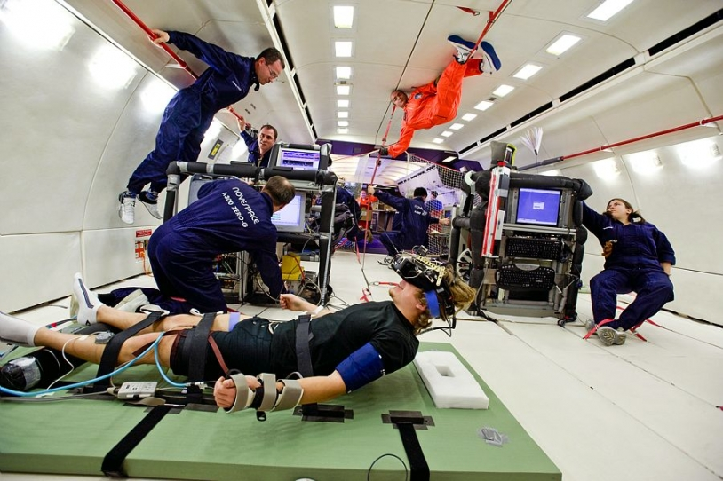 Microgravity experiments on the Airbus A300 Zero G. Credit: CNES.
