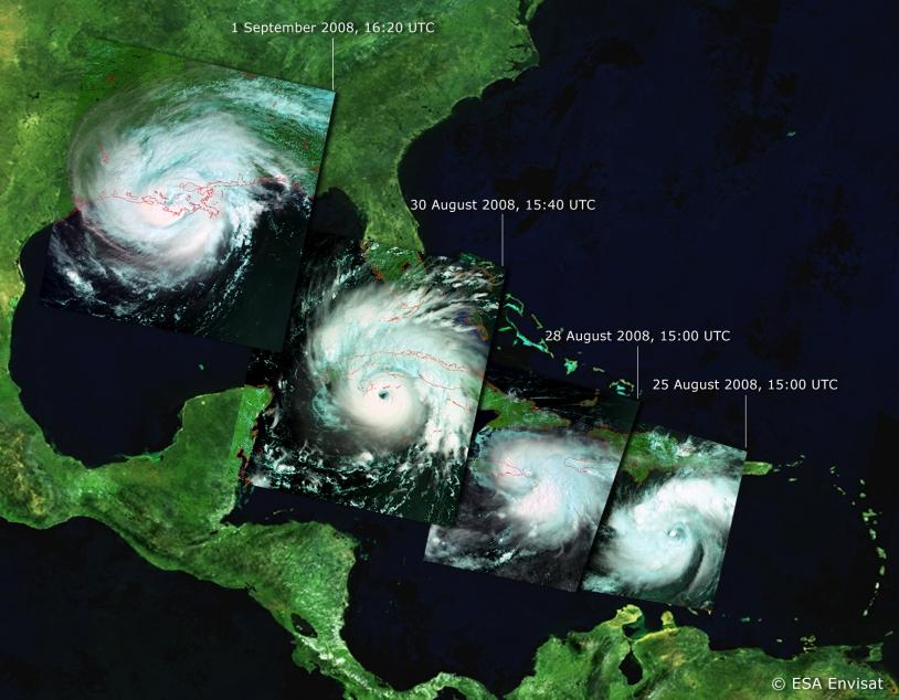 Progression de l'ouragan Gustav en 2008 au-dessus des Antilles. Crédits : ESA/Envisat.