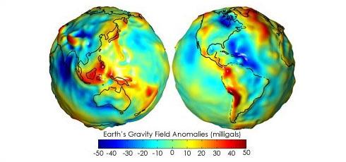 Représentation 3D du géoïde, la Terre n'est pas une sphère parfaitement lisse. Crédits : NASA.