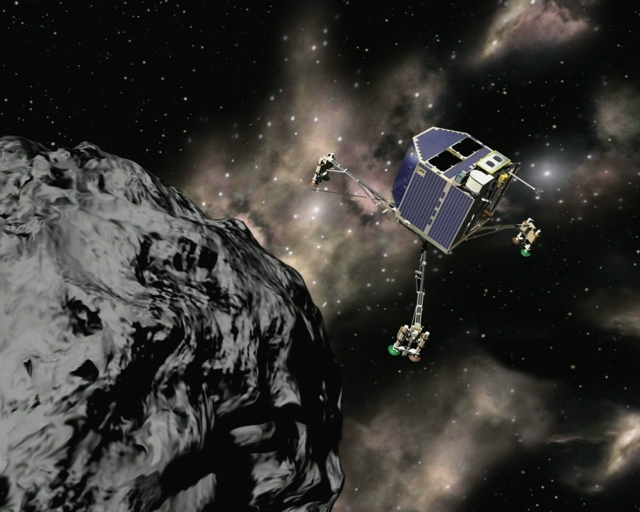 The Philae lander approaching comet Churyumov-Gerasimenko. Credits: CNES/Ill. Laurence Mossay.