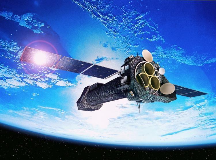 Vue d'artiste du téléscope spatial XMM-Newton. Crédits ESA.