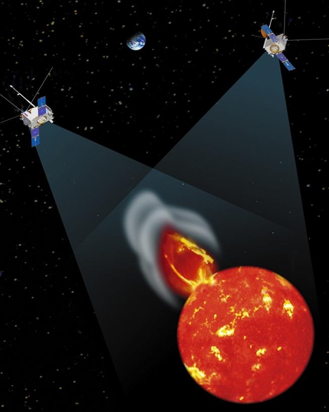 Les 2 sondes forment actuellement un angle d'un peu plus de 45° avec le soleil et la Terre. Crédits : NASA.