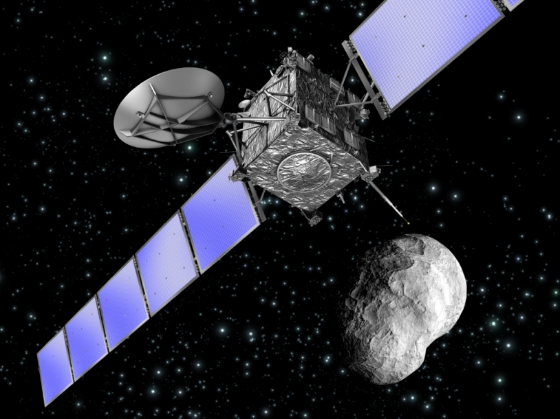 The Rosetta probe and the asteroid Steins. Credits : Ill./NASA.