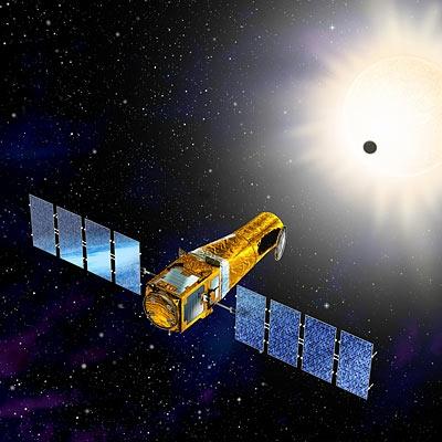 CoRoT en orbite depuis décembre 2006. Crédits : CNES/Ill. D. Ducros.