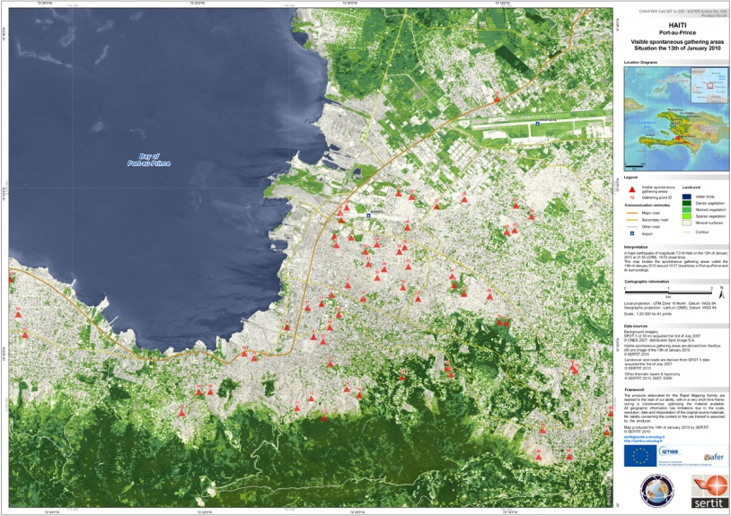 Satellite image of Port-au-Prince derived from SPOT 5 data acquired 13 January 2010. Credits: CNES/SERTIT.