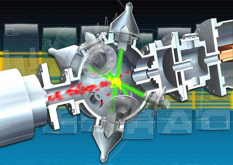 L'horloge PHARAO utilise des atomes de césium refroidis par laser. Crédits : CNES/ill. J. Vouillon.
