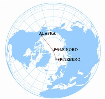 Parcours de l'expédition entre Le Spitzberg et L'Alaska. Crédits : J.B. Epron/ôdouce.