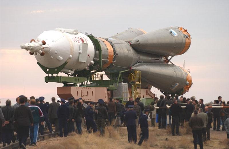 Fusée Soyouz sur le cosmodrome de Baïkonour au Kazakhstan. Crédits : Roscosmos.