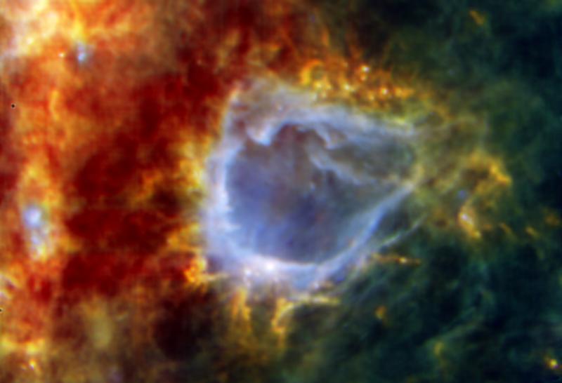 La bulle galactique RCW 120. Crédits : ESA/PACS/SPIRE/HOBYS Consortia.