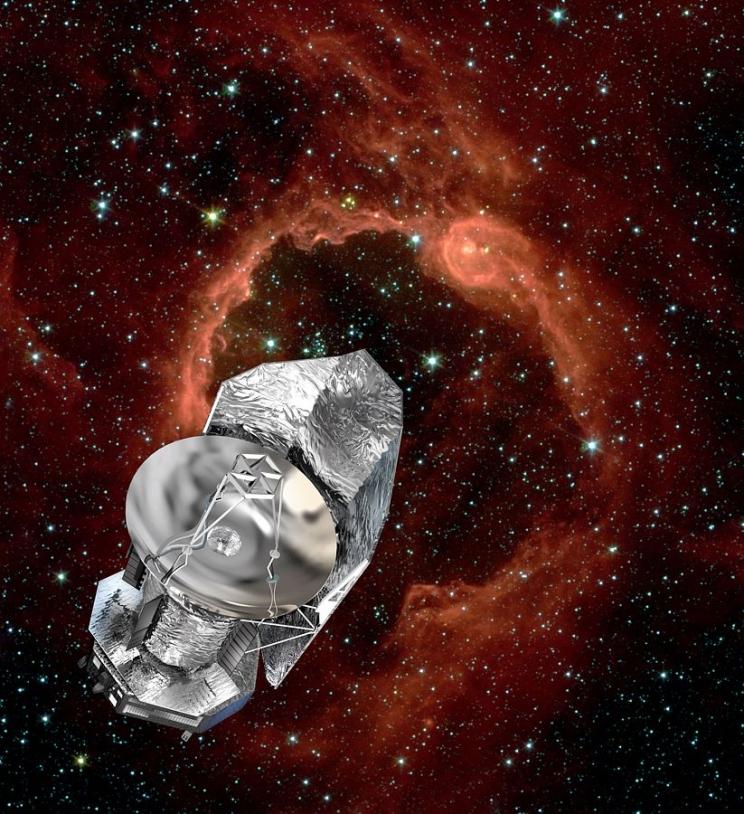 Le satellite Herschel est en orbite à 1,5 millions de km de la Terre. Crédits : ESA/D. Ducros.