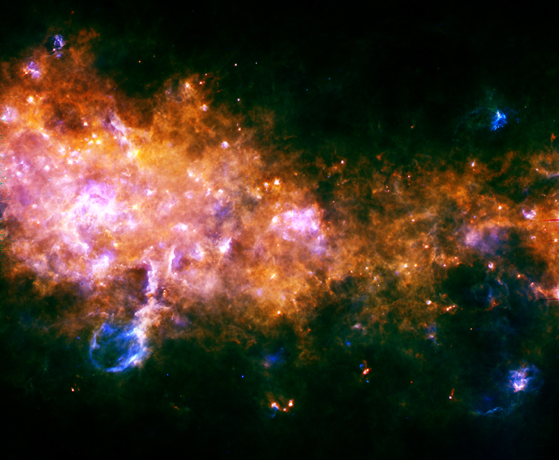 Gestation et naissances d'étoiles dans la Voie lactée. Crédits : ESA/Hi-GAL Consortium.