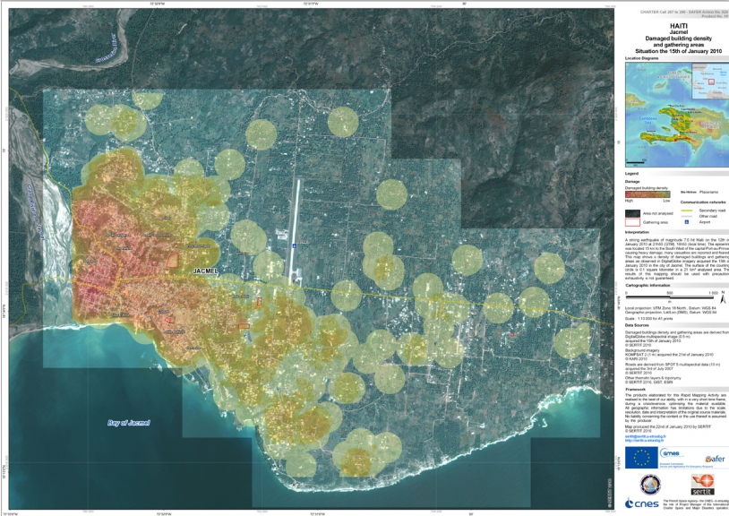 Carte des dégats fournie par la Charte lors du tremblement de Terre en Haïti en janvier dernier. Crédits : image KOMPSAT-2 offerte par KARI à la Charte.