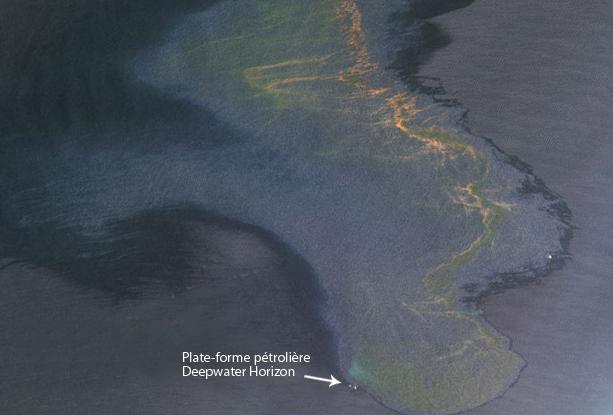 Image Spot-5 de la marée noirée dans le Golfe du Mexique. Crédits : Spot Image.