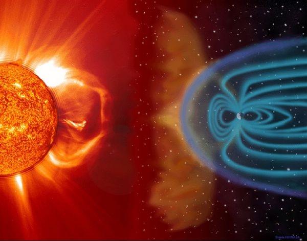Interaction entre le vent solaire et la magnétosphère terrestre. Crédits : SOHO/LASCO/EIT. NASA. ESA.