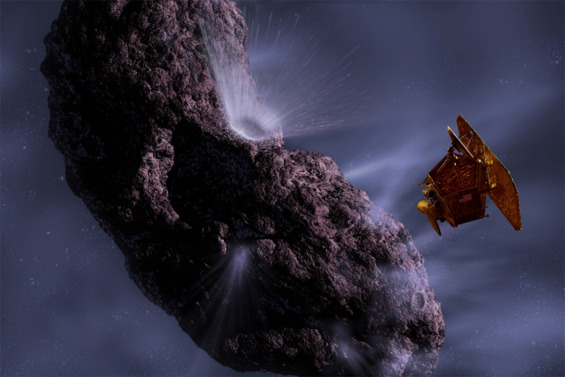 The Deep Impact impactor smashes into comet Tempel 1 in 2005. Credits: NASA, JPL, UMA/Ill. Pat Rawlings.