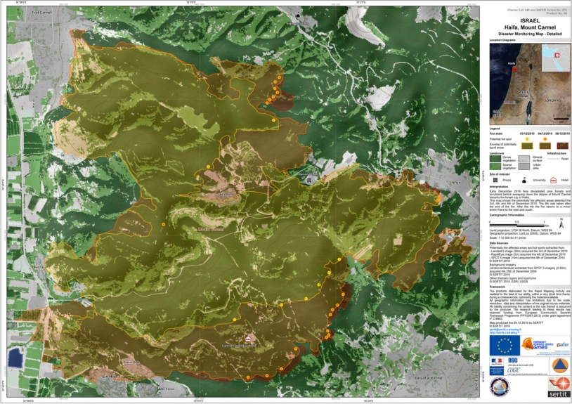 Detailed view of fire dynamics derived from a Landsat 5 image of 3 December 2010, a RapidEye image of 4 December 2010 and a post-fire SPOT 5 image acquired on 8 December 2010. Credits: SERTIT 2010.