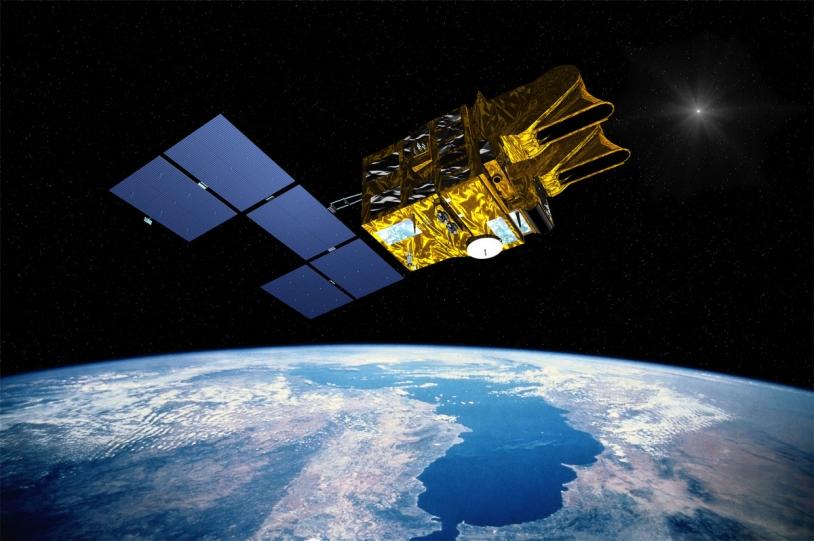 Vue d'artiste du satellite SPOT-1. Crédits : CNES.