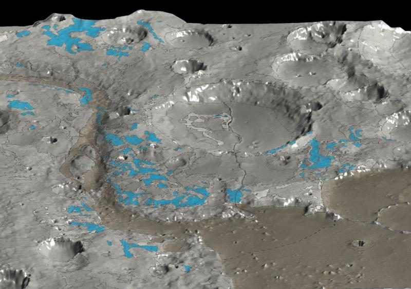 Identification de zones riches en argiles (en bleu) par l'instrument OMEGA de la mission Mars Express, dans la région Mawrth Vallis de Mars. Crédits ESA/ OMEGA /HRSC.