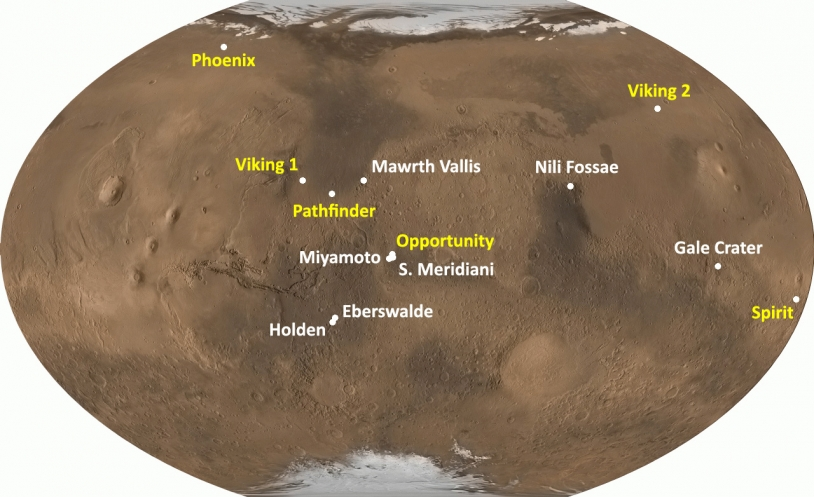 Previous landing sites and the locations of Gale Crater and Eberswalde Crater. Credits: www.planete-mars.com.
