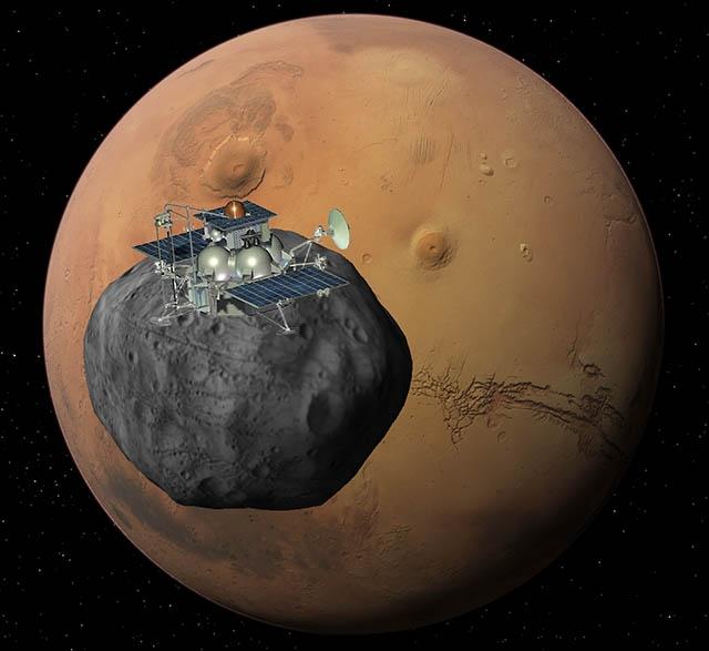 La sonde Phobos-Grunt devrait rejoindre Phobos au printemps 2013. Crédits : Ill. Roscosmos.