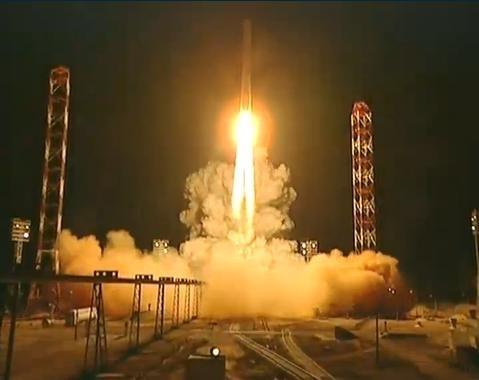Décollage de la sonde russe Phobos-Grunt à bord d'une fusée Zenit depuis Baïkonour, mardi à 21h16 (heure de Paris). Crédits : Roscosmos.