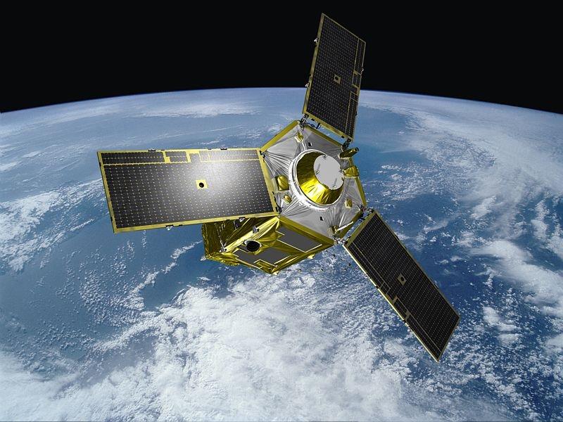 The first Pléaides satellite, in orbit. Credits: EADS Astrium/Master Image Films.