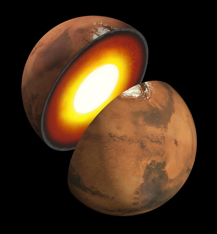 Vue d'artiste du coeur de la planète Mars. Crédits : NASA/JPL.