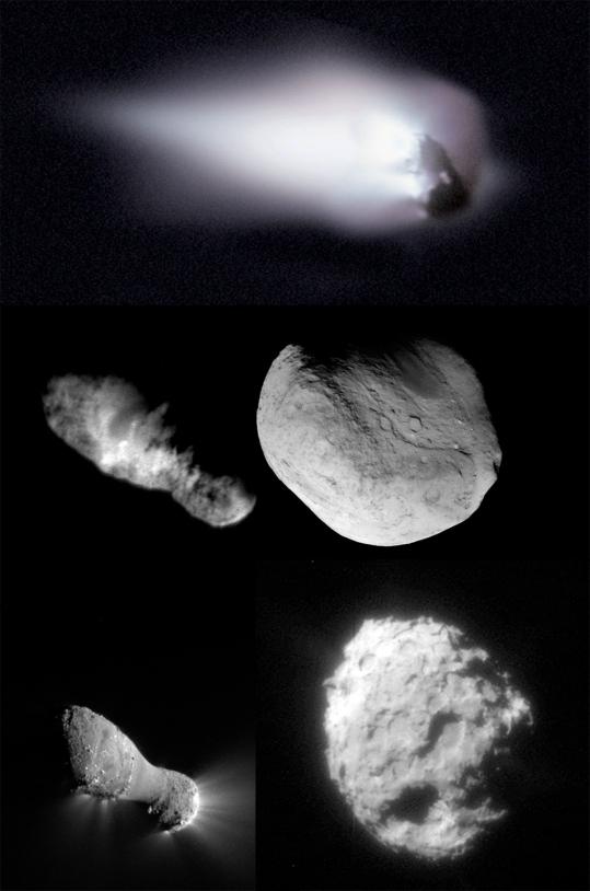 Les noyaux des comètes 1P Halley, 19P Borrelly, 9P Tempel, 103P Hartley et 81P Wild. Crédits : ESA/NASA/JPL/Cornell/Caltech/UMD