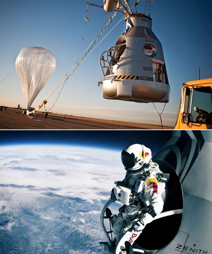 L'autrichien Felix Baumgartner a franchi le mur du son en chute libre après s'être élancé depuis un gigantesque ballon stratosphérique de plus de 100 m de large. C'était le 15 octobre 2012, à plus de 39 000 km d'altitude. Crédits : Red B...