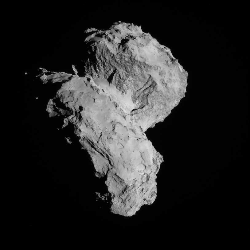 Image du noyau de 67P vu par la caméra de navigation de Rosetta le 22 août 2014 à une distance de 64 km. Crédits : ESA/Rosetta/NAVCAM.
