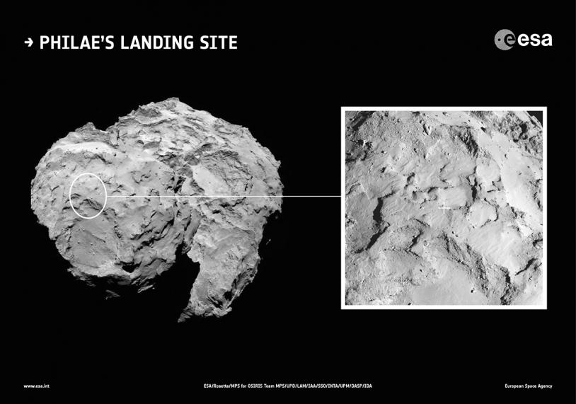 Position du site J sur le petit lobe qui est retenu pour l'atterrissage de Philae sur le noyau de 67P le 11 novembre prochain. Crédits : ESA/Rosetta/MPS for OSIRIS Team MPS/UPD/LAM/IAA/SSO/INTA/UPM/DASP/IDA.