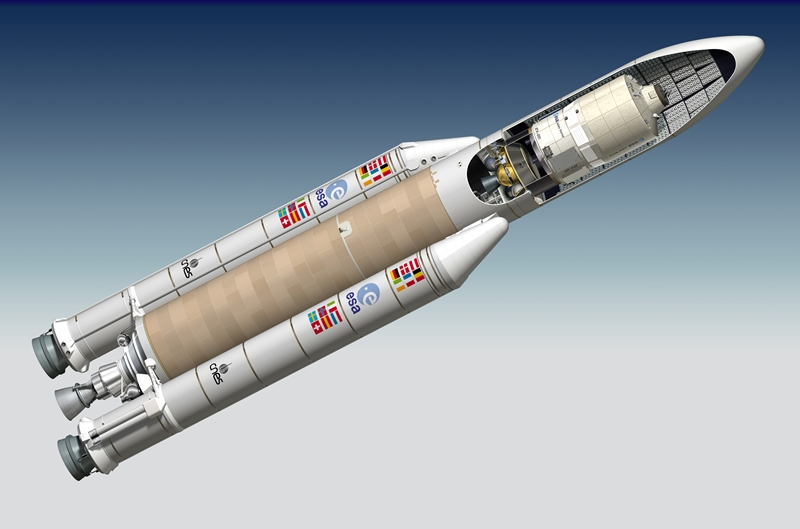 L'ATV Jules Verne sous la coiffe d'Ariane 5. Crédits : CNES/ESA/ill./DUCROS David, 2006