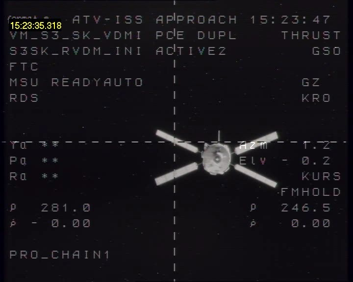 L'ATV vu de l'ISS à 246,5 m. Crédits : ESA