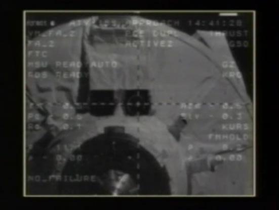 L'ATV approchant de l'ISS.