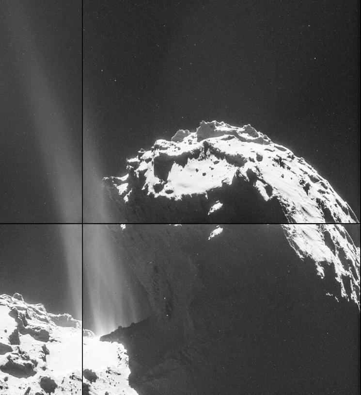 Zoom sur les jets visibles sur les images (luminosité fortement accentuée) prises par la NavCam le 26 septembre à 26,3 km de distance de la comète 67P. Crédits : ESA/Rosetta/NavCam.