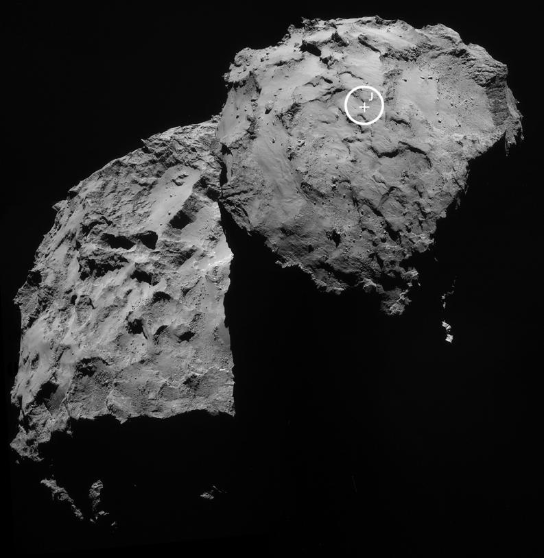Le site d'atterrissage J est situé sur le petit lobe de la comète 67P/Churyumov-Gerasimenko. Crédits : ESA/Rosetta/NavCam.