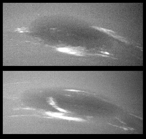 Clouds around Neptune's Great Dark Spot. Although the spot is as big as our Earth, cloud conditions—as observed by Voyager 2—can change within just a few tens of hours. Credits : NASA