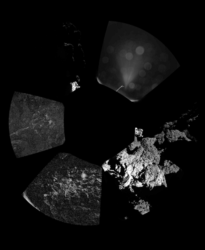 Le premier panorama obtenu par les caméras de CIVA-P le 13 novembre 2014 à la surface de la comète 67P/Churyumov-Gerasimenko. Crédits : ESA/Rosetta/Philae/CIVA.