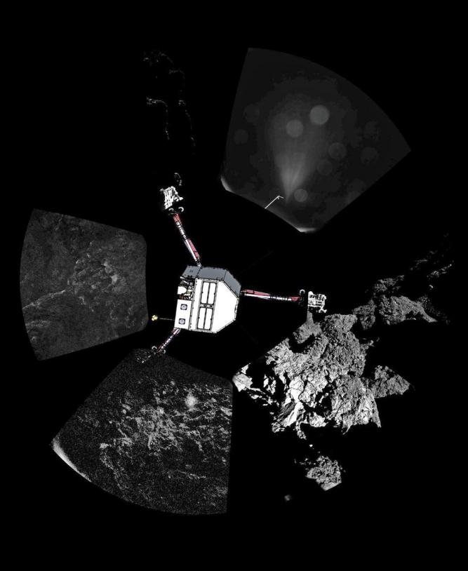 Le premier panorama obtenu par les caméras de CIVA-P le 13 novembre 2014 à la surface de la comète 67P/Churyumov-Gerasimenko ; une représentation de Philae a été ajoutée avec son orientation supposée. Crédits : ESA/Rosetta/Philae/CIVA.