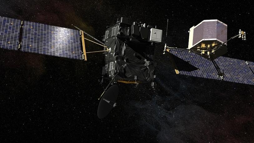 L'atterrisseur Philae, de Rosetta, devrait se séparer de l'orbiteur pour atterrir sur la comète en novembre 2014. CNES/EKIS France, 2013.