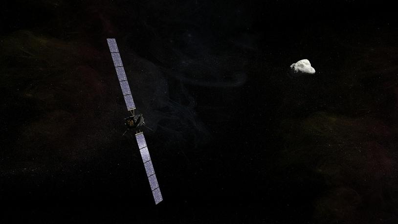 La sonde Rosetta à la poursuite de la comète Churiumov-Gerasimenko a déjà parcouru 6 milliards de km. Crédits : CNES/EKIS France, 2013.