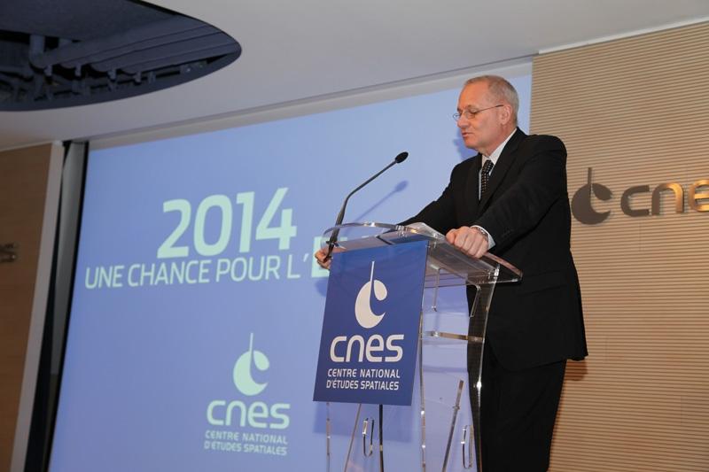 Le président du CNES, Jean-Yves Le Gall a présenté ses voeux à la presse ce lundi 6 janvier 2014, au siège du CNES à Paris. Crédits : CNES/S. Charrier.
