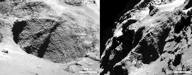 Exemple de trou circulaire observé sur le noyau ; l'augmentation du contraste révèle la présence d'activité. OSIRIS-NAC, le 28 août 2014 à 60 km de distance (1 m/pixel). Crédits : ESA/Rosetta/MPS for OSIRIS Team MPS/UPD/LAM/IAA/SSO/INTA/UP...